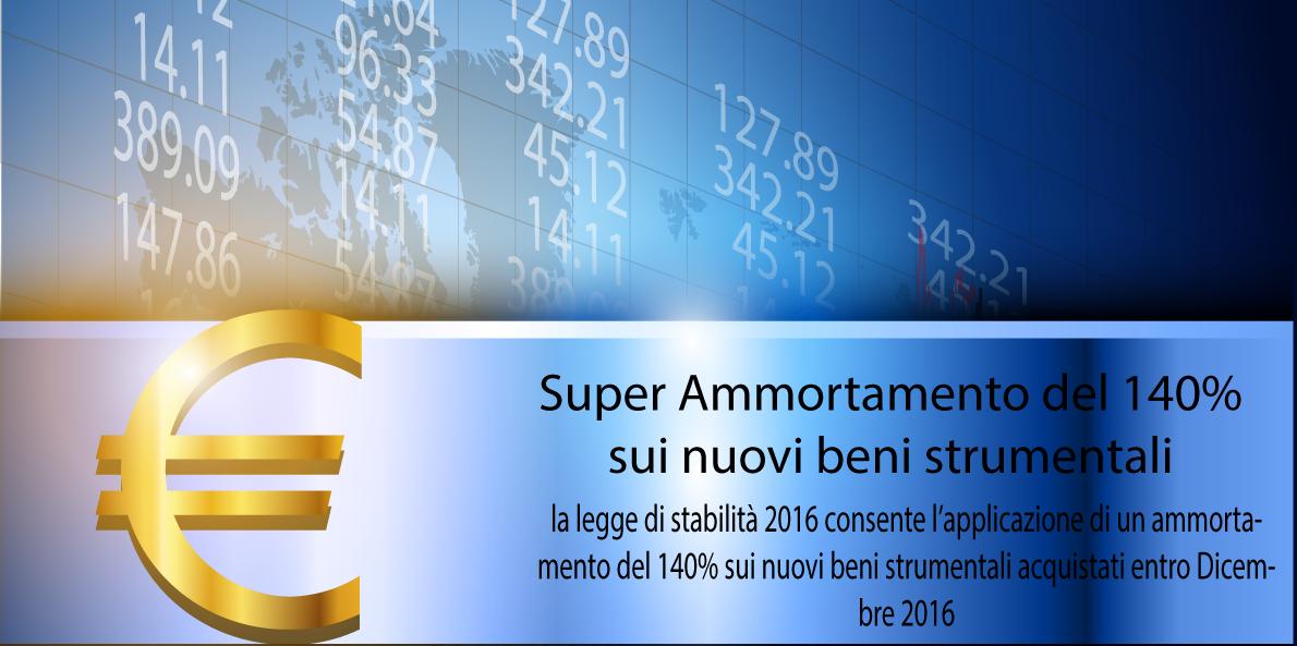 super ammortamento 2016 al 140% per beni strumentali nuovi
